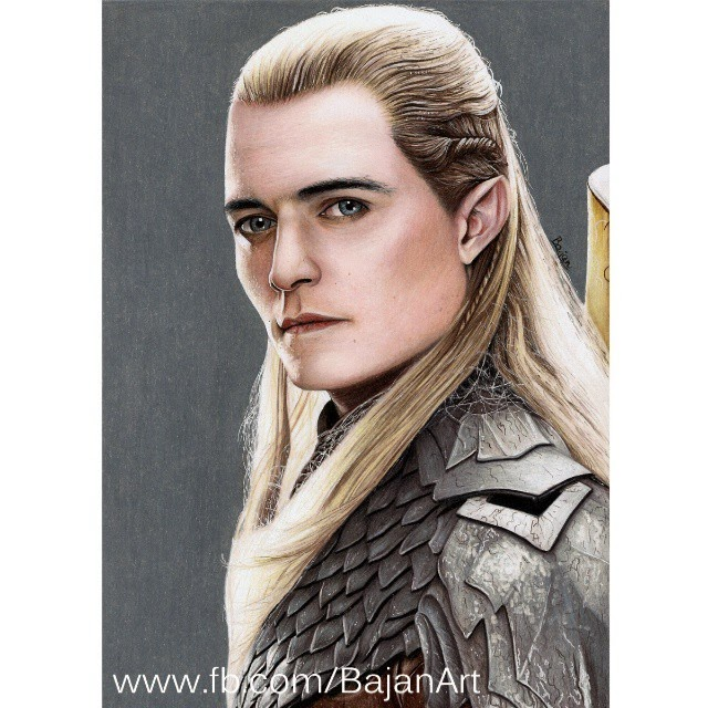 13-Orlando-Bloom-LotR-The Hobbit-Łukasz-Andrzejczak-Colored-Pencil-WIP-Drawings-www-designstack-co