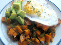 Chile Sweet Potato Hash with Eggs and Avocado