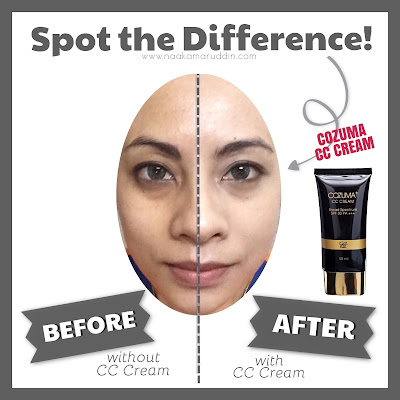 cozuma cc cream - before and after - naa kamaruddin