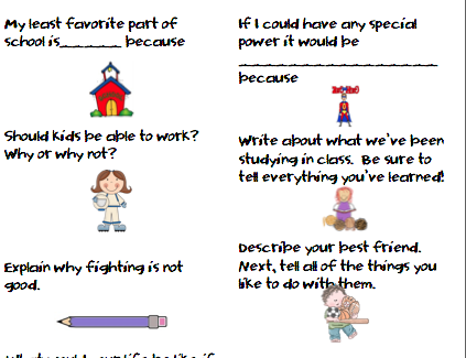 first grade writing ideas