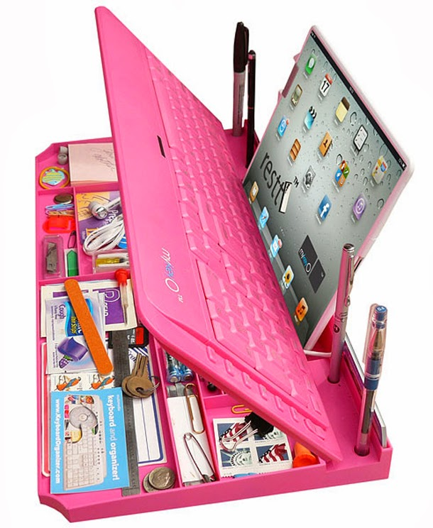 Pink tablet pc keyboard and desktop organizer - Pink desk organizer ...
