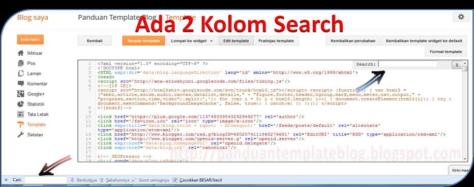Menggunakan Ctrl+F di Tampilan Baru Menu Edit HTML
