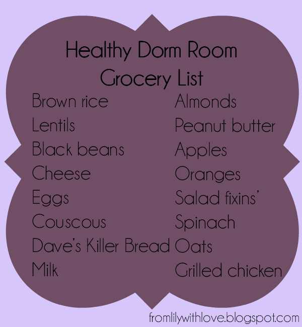 list of healthy grocery items for college students living in dorms