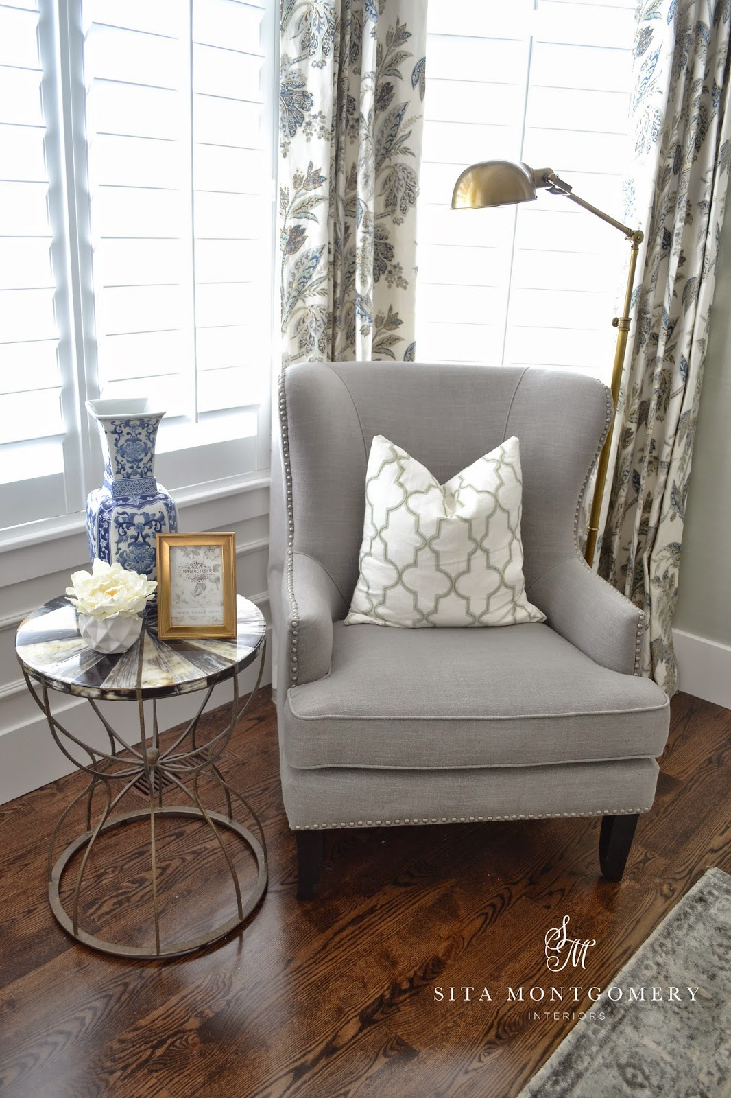 the amazing hourglass brass accent table from kathy kuo home has a horn top and adds depth and richness to the space it is spectacular in person beautiful home office makeover sita