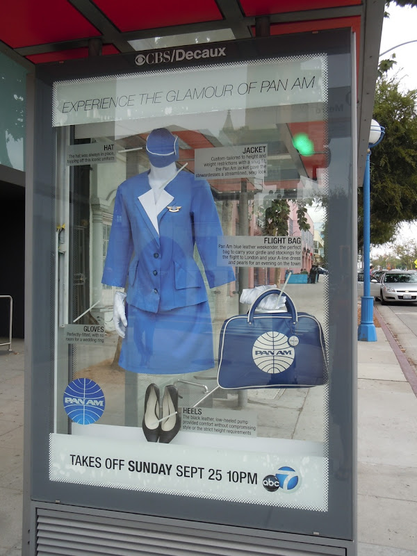 Pan Am costume bus shelter