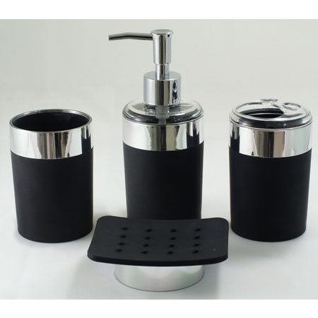 Black and white bathroom accessories black bathroom for Black bath accessories sets