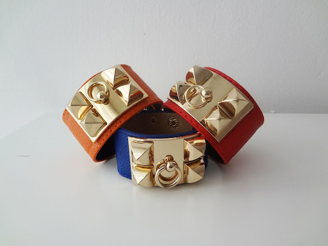 Gold Pyramid Stud Faux Leather Cuff Bracelets stacked up.