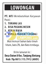 Lowongan Kerja PT. Mandiri Tehnikndo Jaya (PT. MTJ)