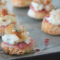 Roasted Pears, Prosciutto, Pecan and Gorgonzola Canapes
