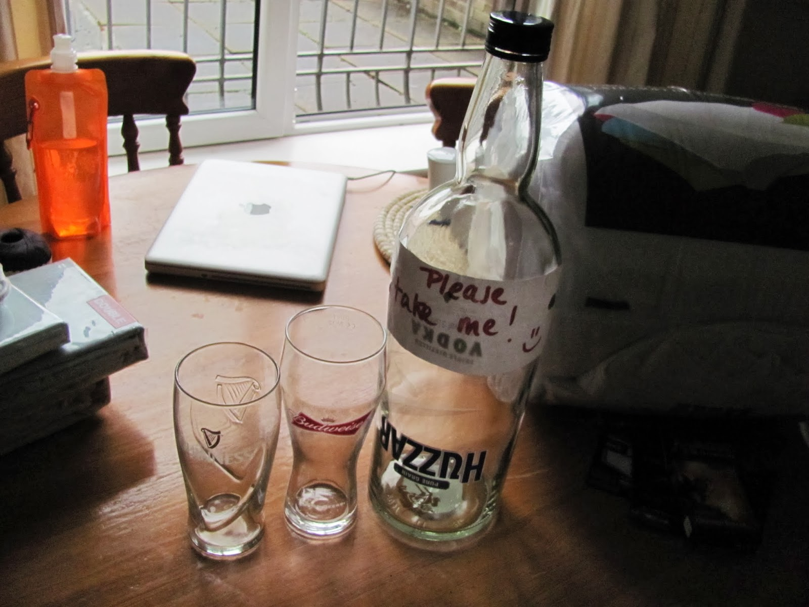 A large empty bottle of Huzzar vodka found in Dublin, Ireland