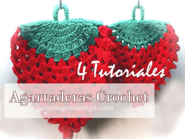 4 tutoriales de agarraderas tejidas al crochet