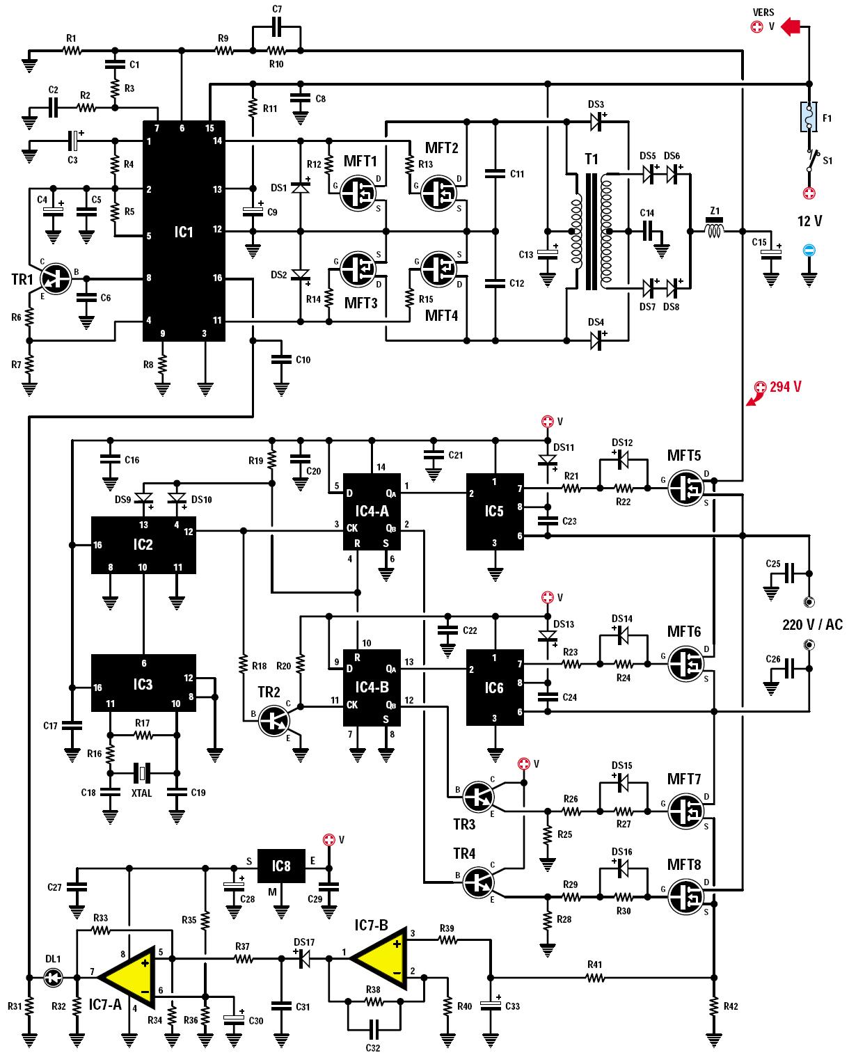 un convertisseur 12 volts continus 220 volts alternatifs 160 watts 50 hertz schema. Black Bedroom Furniture Sets. Home Design Ideas