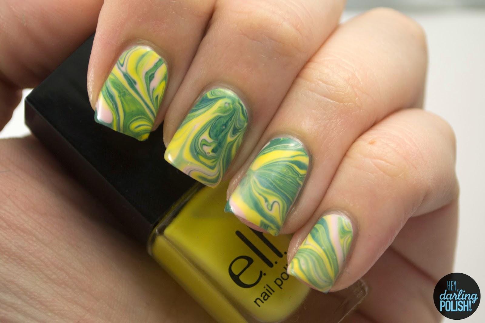 nails, nail art, nail polish, polish, yellow, blue, pink, watermarble, hey darling polish, tri polish challenge, tpc