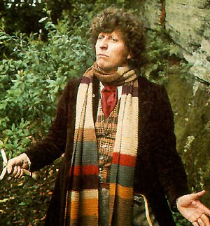The 4th Doctor, Tom Baker, modelling his famous Doctor Who Scarf.