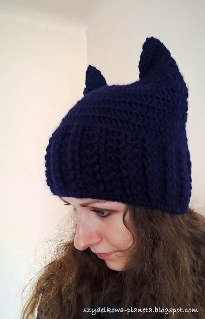 czapka z uszami na szydelku
