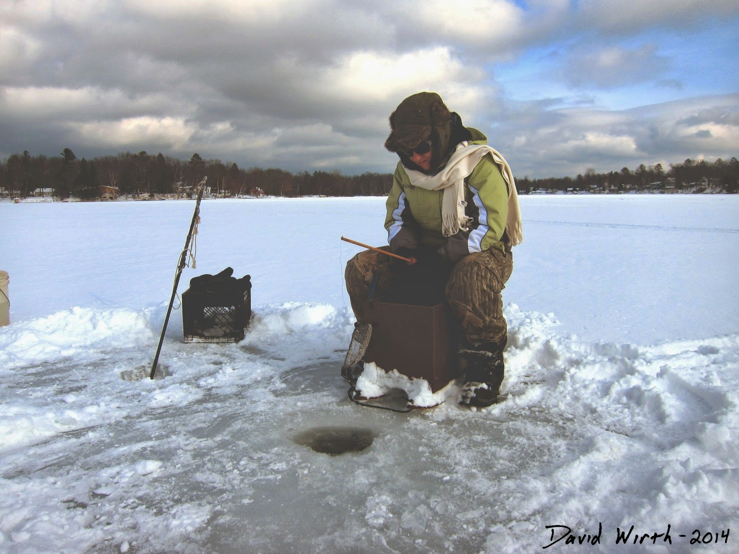 ice fishing on long lake, michigan, winter, month, chopping ice