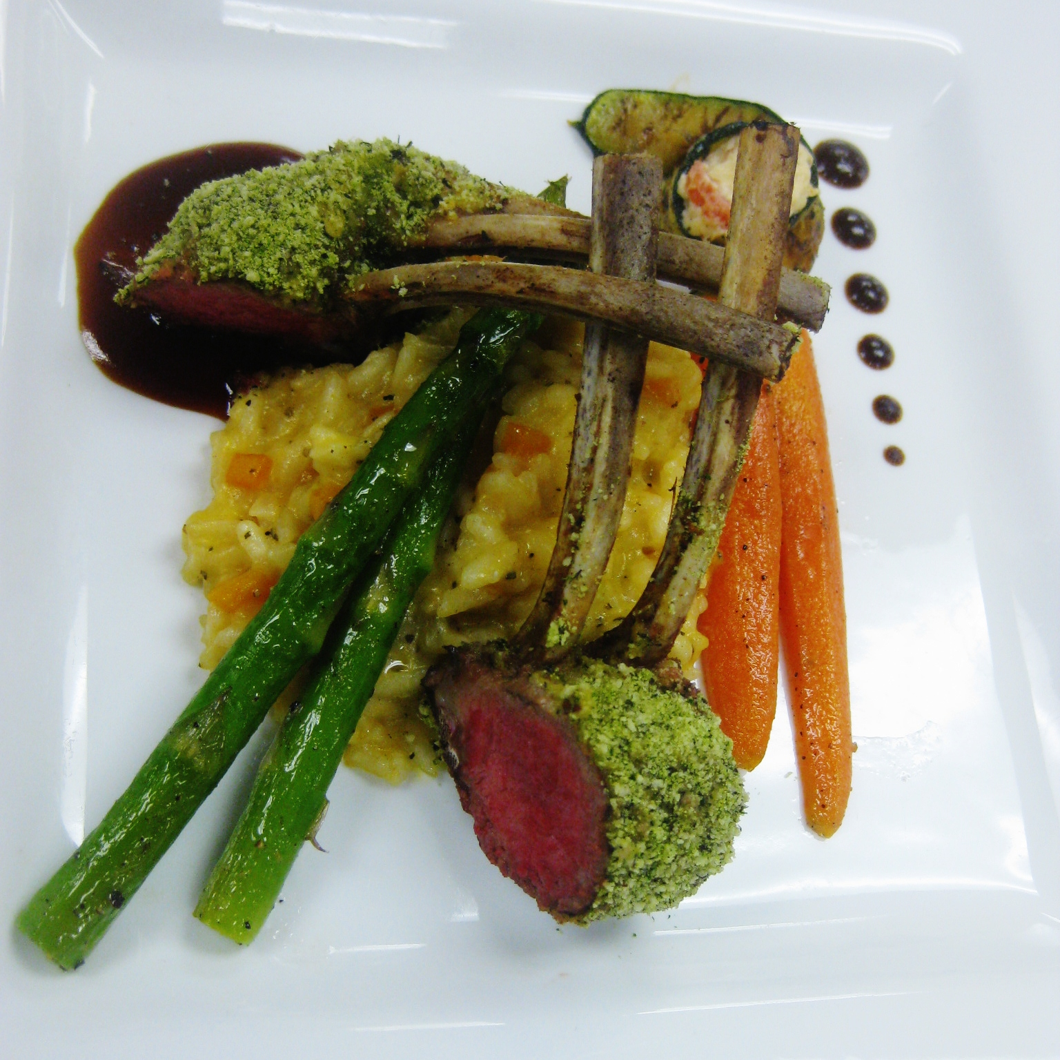 Herb Crusted Rack of Lamb, Butternut Squash Risotto, Zucchini Ribbon ...