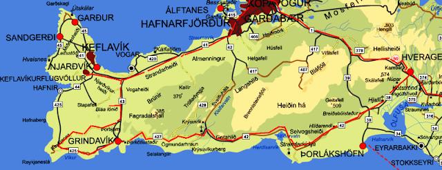 mapa de la península de reykjanes