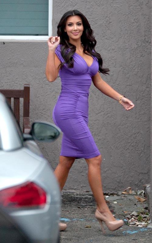 Kim Kardashian In A Purple Tight Dress Kim-Kardashian-5
