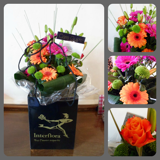 orange pink flowers bouquet hand-tied