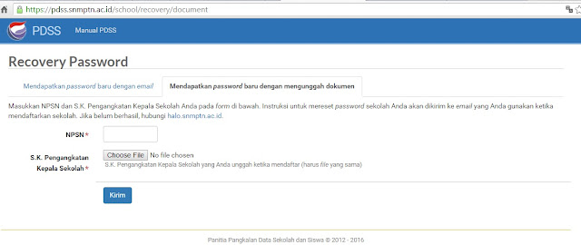 Solusi Lupa Password PDSS SNMPTN