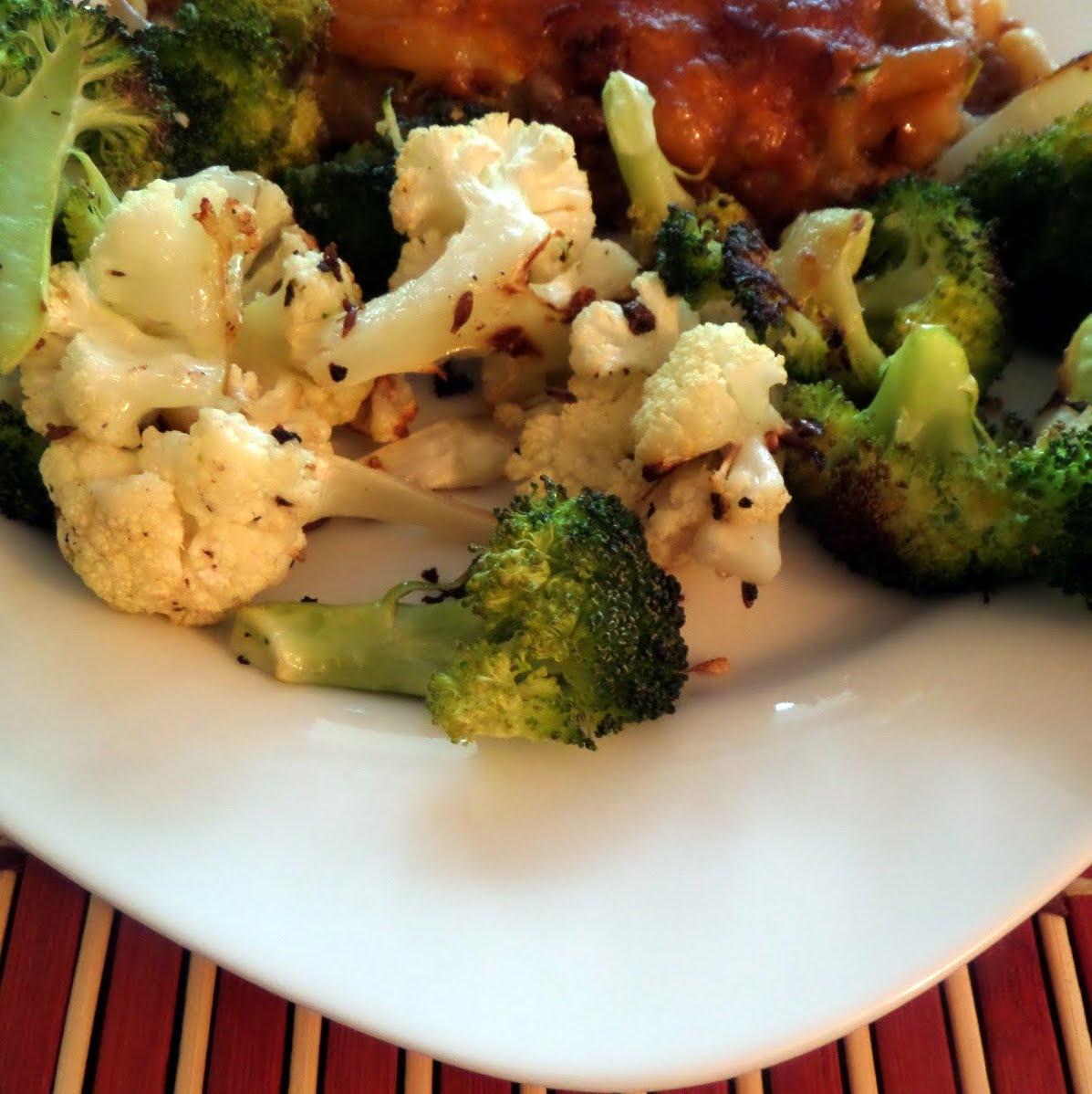 Cumined Cauliflower and Broccoli: A simple vegetable side dish of roasted cauliflower and broccoli with cumin seeds.