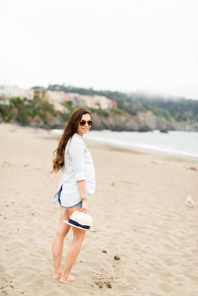 asian blogger, long beach hair, brunette, baker beach san francisco, panama hat, ray ban aviators