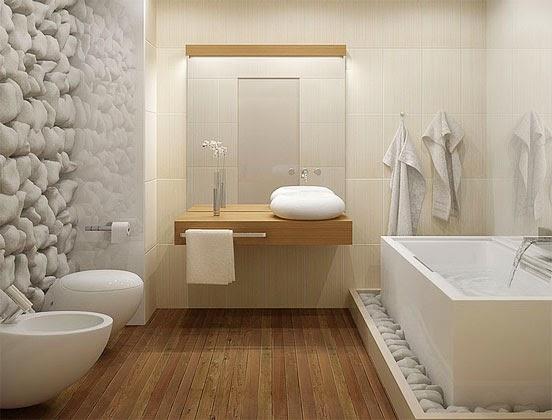 Construindo Minha Casa Clean Pedras Decorativas, Pastilhas e Porcelanato! Na -> Banheiro Decorado Pedras