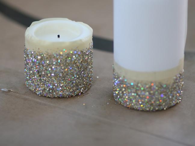 Reciclatex c mo decorar unas velas con purpurina - Como decorar con velas ...