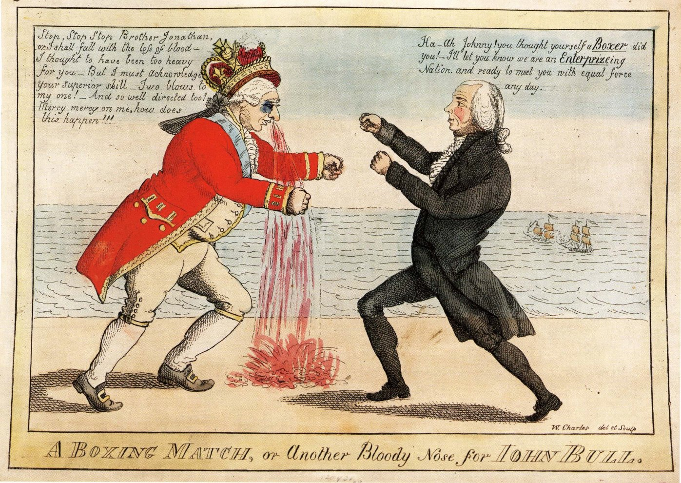 yesterday s papers the war of and its publications 11 a boxing match or another bloody nose for john bull cartoon by william charles 1776 1820