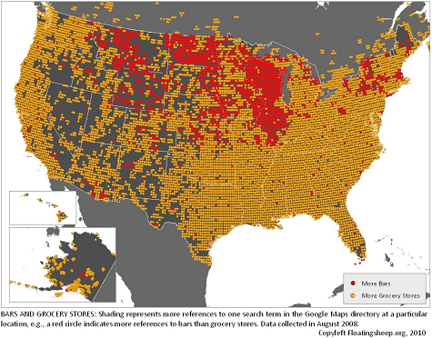 map of areas where bars outnumber grocery stores