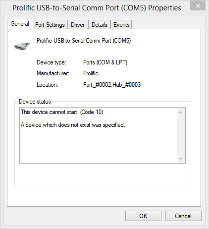 left brain tinkering usb to serial prolific 2303 device cannot start code 10 in windows 8 8