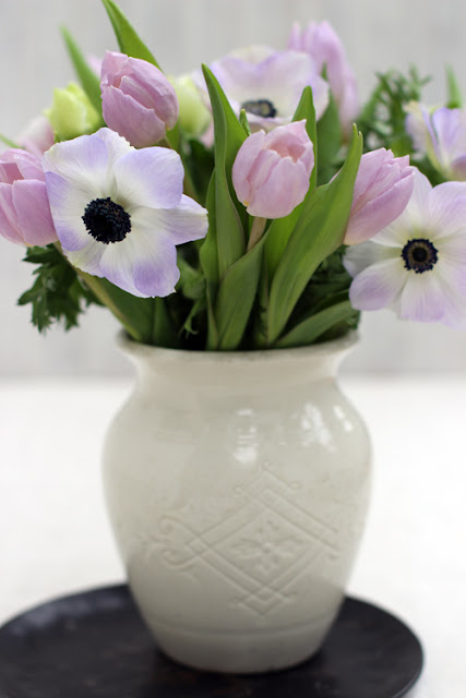 Pastel Pink Tulips and Anemone