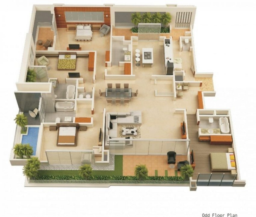 3D Floor Plan On Architectural 2