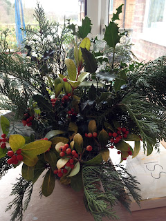 garden foliage christmas holly, berries and ferns