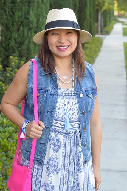 Target Panama Hat, J Crew Denim Vest, The Mint Julep Maxi Dress