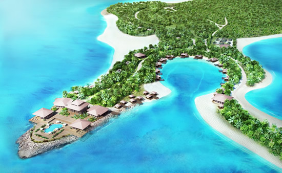 Aerial View of Beachfront Resort Aniyana, Middle Caicos, Turks & Caicos (artist's impression)