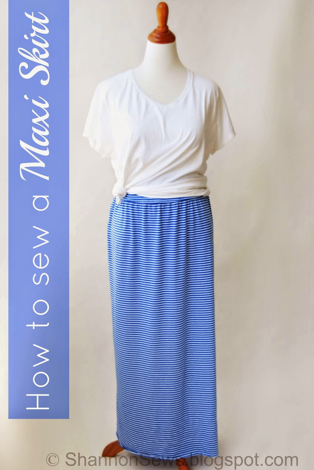 sewing tutorial maxi skirt jersey knit waistband