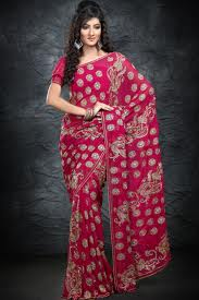 pink colour saree with embroidery work