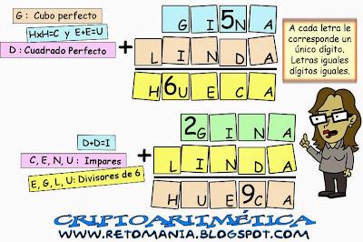 Alfamética, Criptoaritmética, Criptosumas, Criptogramas, Juego de Letras, Descubre los números, Problemas matemáticos, Desafíos matemáticos, Retos matemáticos