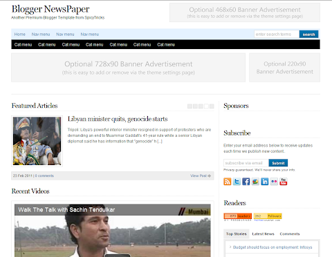 Blogger NewsPaper Blogger Theme