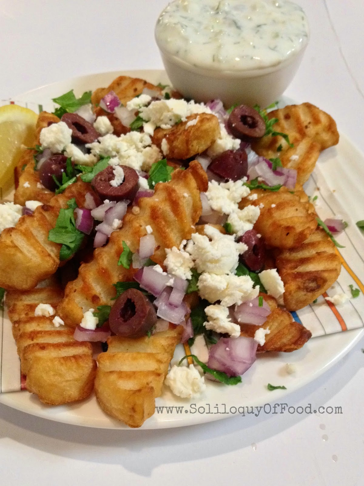 Greek Fries ~ Get YOUR Greek on!  www.soliloquyoffood.com via LoveBakesGoodCakes
