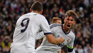 Selebrasi Ramos setelah mencetak gol melawan Dortmund