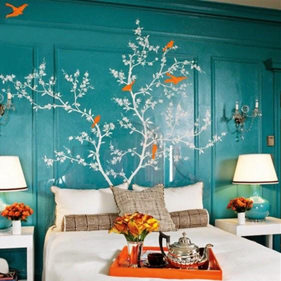 Decorar con adhesivos la zona del cabecero de cama for Adhesivos pared dormitorio