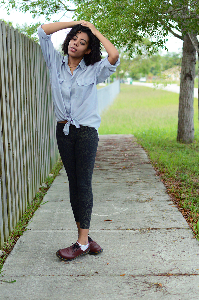 Miami Fashion and Indie Culture Blogger Anais Alexandre of Down to Stars in a vintage chambray shirt with leopard tights and dr martens