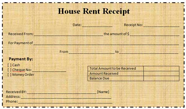 Receipt Of House Rent – House Rent Slips