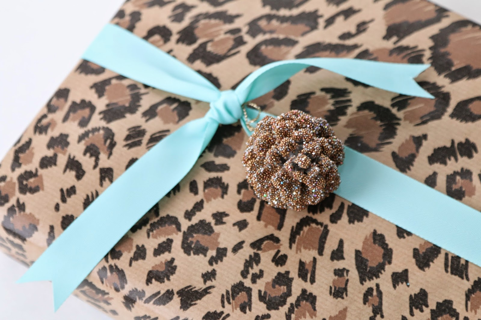 Holiday gift wrapping with animal print paper and tiffany blue ribbon