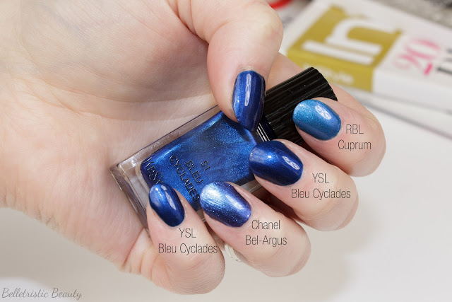 Yves Saint Laurent Bleu Cyclades #51 La Laque Couture nail polish lacquer swatch comparison, Bleu Lumiere Collection, Summer 2014, in studio lighting with forced flash