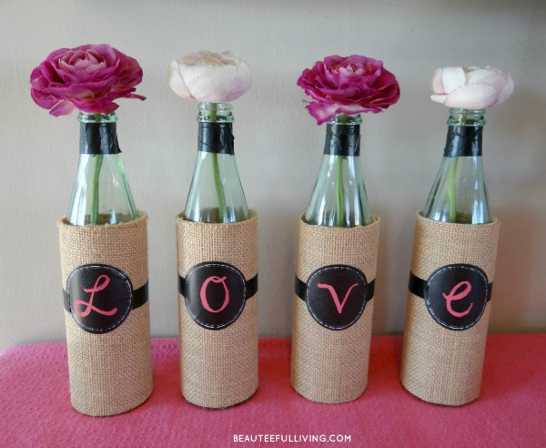 14 diy valentine decor ideas home crafts by ali for Wine bottle vase ideas