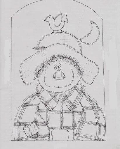 desenho de espantalho country para pintar em tecido